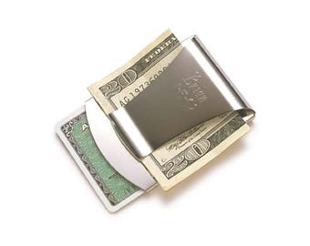 Steel Money Clip - Personalized Money Clip - Engraved Monogram Gift - Money Holder - Groom Gift - Fathers Day Gift - Gifts for Him