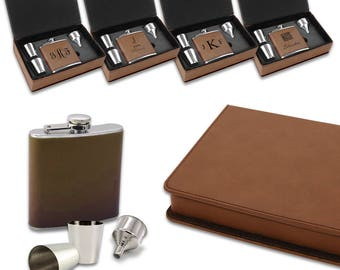 6oz Hip Flask Set - Personalized High Quality Brown Leatherette Hip Flask and Shot Glasses Set in Storage Box - Engraved Liquor Flask Set