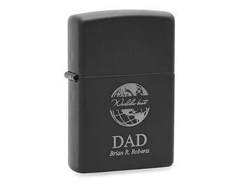 World's Best Dad Matte Black Zippo Lighter - Black Lighter for Dad - Personalized Cigarette Lighter - Laser Engraved Black Cigar Lighter