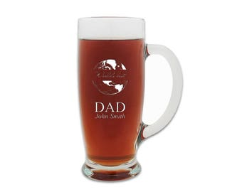 World's Best Dad 18 ounce Pilsner Glass with Handle - Laser Engraved Beer Glass for Dad - Personalized Beer Glass - Personalized Stein
