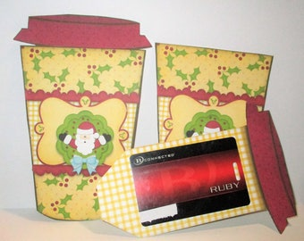 Latte Cup Gift Card Holder, Standard Plastic Gift Cards, Christmas, Santa, 0279
