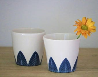 Porcelain Tea Cups, Set of Two/ Japanese Tea Cup Yunomi /Ceramic Tumbler / Pottery Cup / Handmade  Ceramic Cup