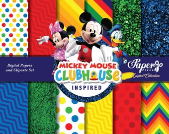 Mickey Mouse Clubhouse Digital Scrapbook Paper and Clipart set, Ballerina Patterns, Chevron, Clubhouse Birthday Party, Clubhouse Characters