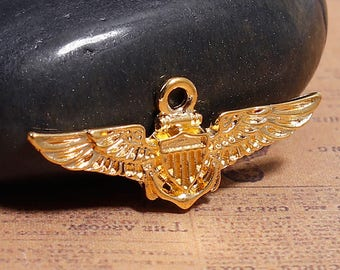 """10 Gold Plated Pilot """"Wings"""" Charms 19 x 30mm (B203d)"""