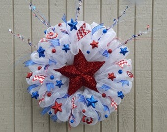 4th of July Wreath, Memorial Day Wreath, Summer Mesh Wreath, Summer wreath Spring Wreath