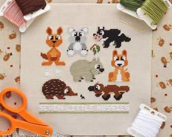 Australian Animals Cross Stitch Pattern PDF | Seven Little Aussies | Easy | Modern | Beginners Counted Cross Stitch | Instant Download