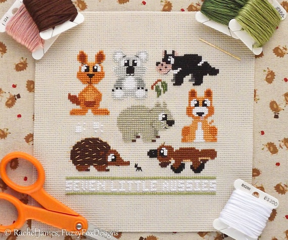 Seven Little Aussies Australian Animals Easy Beginners Cross Stitch Pattern PDF