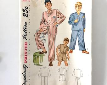 1950s Vintage #2548 SIMPLICITY Clothing Pattern Men's and Boys Pajamas