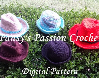 Cowboy, Fedora, and Bowler Hats: 8 sizes Newborn, Child, Teen, Adult - Crochet Pattern