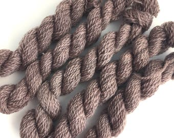 Hand dyed embroidery yarn | plant dyed | dark purple-grey | embroidery wool | wool | laceweight knitting | cross stitch | tapestry | weaving