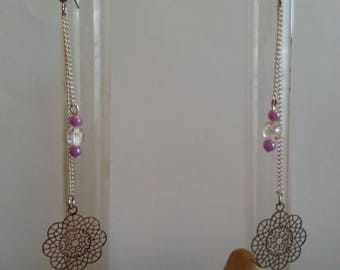 Earrings, purple roses