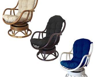 Rattan Living Swivel Rocking Chair Model Erick 3Colors W/ Cushion
