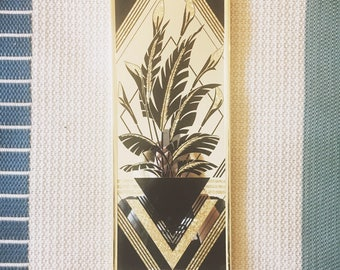 Vintage Gold and Black Palm Mirror