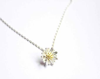 Flower Necklace - Silver Plated -  Daisy Pendant Necklace - Gift For Her - Simple -  Silver Daisy Necklace - Birthday -  Bridesmaid Gift.