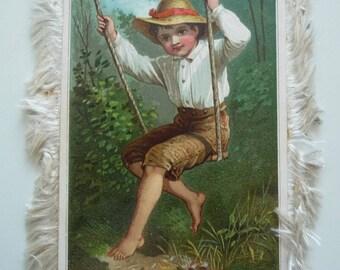 1882 Silk fringe Valentine card