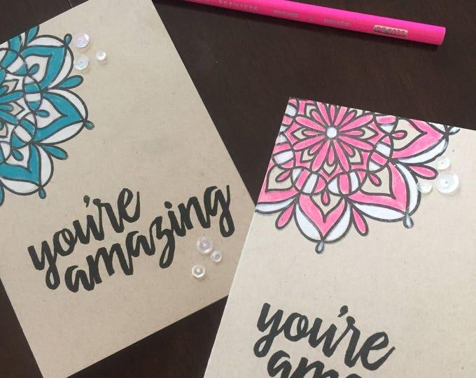 Handmade Card, Stamped Card, Kraft Card, Friendship Card, Encouragement, Mandala Card