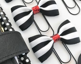 Black and White Striped Ribbon Bow on Black Paperclip Red Glitter Center