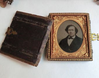 Antique Ambrotype Photo in Leather Book Style Case Man Photo ca 1860