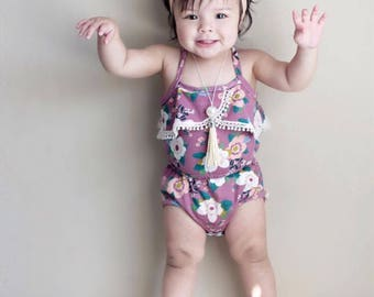 Baby Toddler Floral Romper, Purple Floral Baby Romper, Purple Floral Toddler Romper