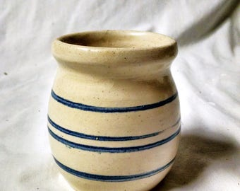 small crock jar / vase, tan with 4 blue lines ~ country home or farm house decor ~ pottery ~ rustic decor ~ crock collectible ~ mini crock