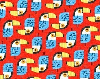 "Tucans on red - Urban Zoologie Minis - Robert Kaufman fabrics , 43-44"" wide, 100% cotton"