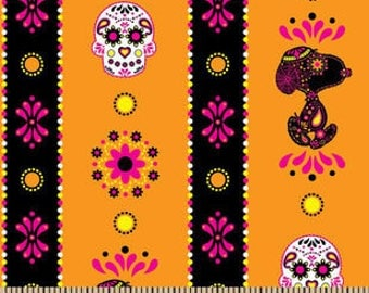 "Snoopy sugar skulls stripe fabric for Springs Creative, 43"" wide, 100% cotton, by the half yard, peanuts fabric, snoopy fabric, licensed"