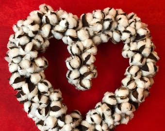 Heart shaped cotton wreath