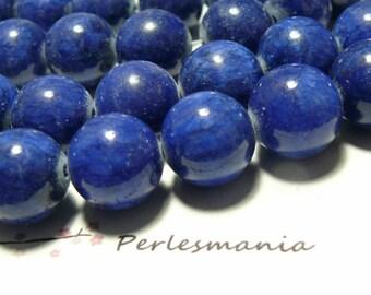 10 pearls tinted jade lapis lazuli 8mm