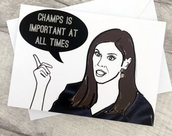 Champs- Real Housewives Heather Dubrow Note/Greetings Card/Invitation
