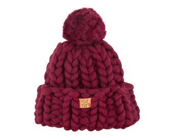 Women's wool knit hat, Helsinki Hat, Super chunky hat with pom pon, Knit Hat. Merino wool. Best Price.