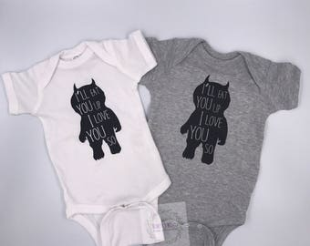 Where The Wild Things Are, I'll Eat You Up I Love You So, Fan Bodysuit, Baby Girl Outfit, Baby Boy Outfit, Wild One, Baby Shower Gift