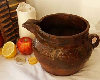 antique Pottery Pitcher Rustic Pottery Jar With a Spout Vintage Pottery Vase Old Pot Jug Jar Antique Pot Old Crock
