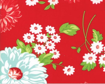 "Moda ""The Good Life"" by Bonnie and Camille ~ SCRUMPTIOUS ~ Red 55150 11  ~ Large Floral ~ Half Yard Increments"