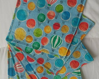 Cloth napkins school lunch hot air balloon print zero waste