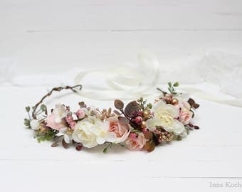 White rose gold flower crown Bridal headpiece Wedding floral halo Girl hair wreath Maternity photo props Pink rose headband