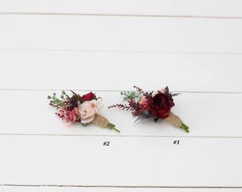 Burgundy pink beige flower accessories Boutonniere Buttonhole Wedding flowers Groom Wedding accessories Groomsmen Burgundy wedding Romantic