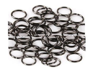 Set of 200 rings open 8 mm gunmetal color metal