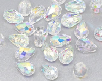set of 4 beads drop faceted Crystal quartz 11 mm x 8 mm