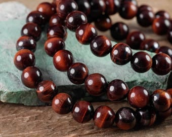 RED TIGERS EYE Power Bracelet - Red Tigers Eye Bracelet, Red Tigers Eye Jewelry, Tigers Eye Stone, Natural Red Tigers Eye E0580