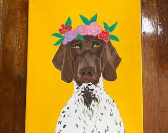 Flower Crown Dog Acrylic Painting on Canvas, Wall Decor, Art