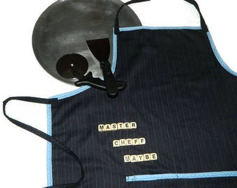 """Master Chef Apron """"NOT"""", Mens Apron, Cooking Apron, Cooks Apron, Blue Stripe Apron, Blue Apron, Navy Apron"""