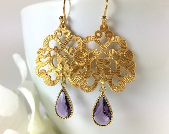 Purple Amethyst Gold Chandelier Earrings Amethyst Drop Dangle Earring Gold Filigree Moroccan Statement Earrings Wedding Bridal Jewellery
