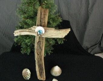 Driftwood Shell Cross