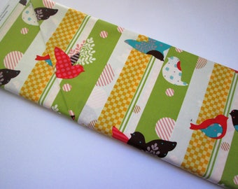 Yardage of Green Stripe with Birds from It's A Hoot Line by Momo for Modafrom It's A Hoot Line by Momo for Moda