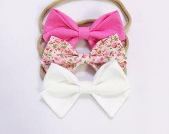 High tea bow headband trio set
