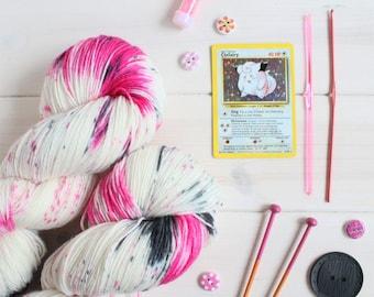 Clefairy Dust -  Pokemon themed hand dyed sock yarn - 100g skein - superwash merino