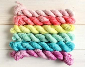 Mini skein set - hand dyed mini skeins - Mermaid Rainbow yarn set - hand dyed sock yarn - indie dyed - geeky yarn - fade yarn - rainbow yarn