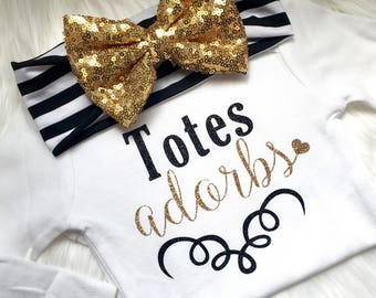 Totes adorbs, totally adorable, trendy, newborn, babies, bodysuit, sparkle, baby shower