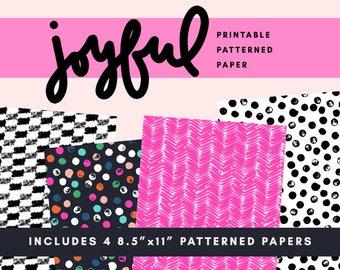 Joyful Printable Patterned Paper