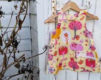 Australian Made Owl Trees Yellow Girl Dress Cotton Dress Yellow Pink Party Dress Owl Trees Dress Aline Dress Toddler Dress Baby Girl Dress